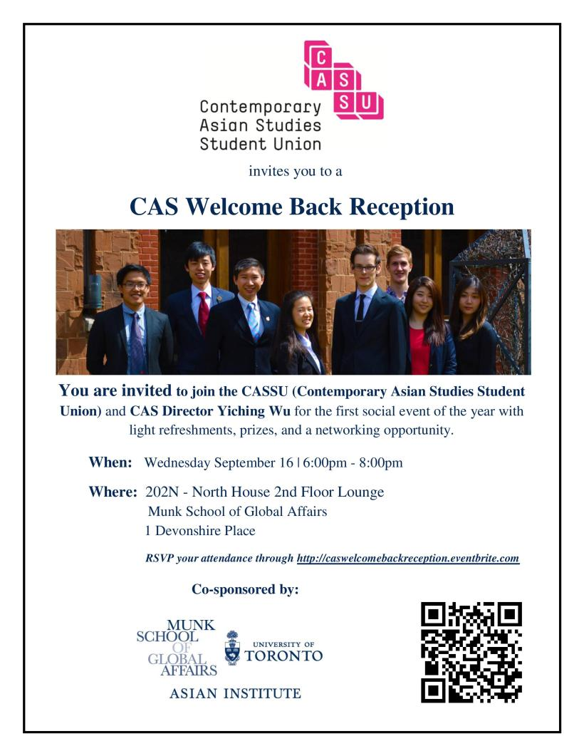 CAS Welcome Back Reception